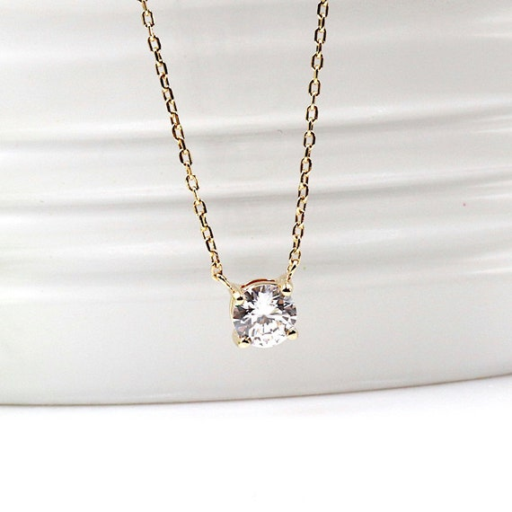 Necklace gold plated cubic zirconia solitaire women
