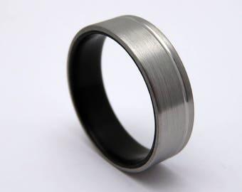 Black ebony wood ring, titanium and wood wedding band
