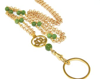 Lotus Lanyard Necklace, Greenstone Jade & Gold, Style for your ID badge or keys
