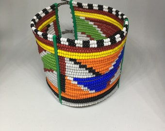 African Masaai Color Beaded, Hand Crafted Bangle - only 2 available