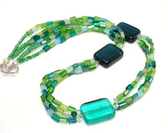 Green Mosaic Glass Necklace with Complimenting Swarovski Crystals