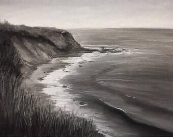 "Original 10 x 13.5"" charcoal and pastel drawing, coastal art."