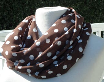 Snood scarf neck scarf women Brown and white collection crepe spring 2018