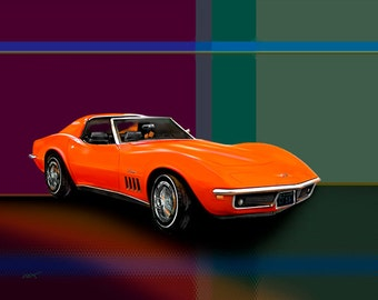 1969 Chevy Corvette...gallery wrapped canvas or luster paper print, car art, classic, car, chevrolet, automobile, poster, digital painting