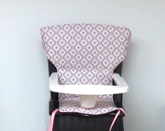 Eddie Bauer Newport or safety 1st wooden highchair cover, chair replacement pad, baby feeding pad, nursery, kids furniture, pink and gray
