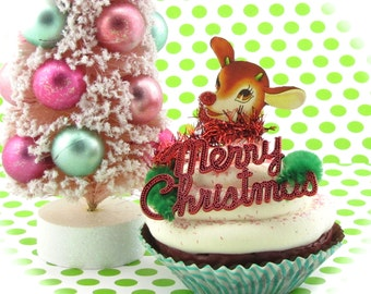 """Fake Cupcake """"Vintage Christmas Card Collection"""" Limited """"Rudolph"""" Edition 12 Legs Original Holiday Decor Can Be Made Into Ornament"""