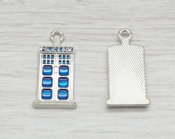 Police box charm x 2 pack. Enamel charm. Dr Who charm. Ideal for jewellery making.  (C24ET)