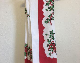 Christmas Table Cloth, Vintage Tablecloth, Vintage Table Linens,