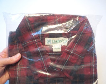 Vintage Haband Plaid Flannel Men's Shirt, Size L, Still in Bag, Made in Swaziland, MOP Buttons, 2 Patch Pockets, Red & Black