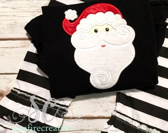 Santa Christmas Outfit - Baby Girl Christmas - Santa - Ruffle Pants Tunic - Ready to Ship Christmas Outfit