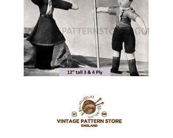 """1940s girl guide and boy scout toys - 12"""" high - in 3 and 4 ply - Vintage PDF Knitting Pattern 1638"""