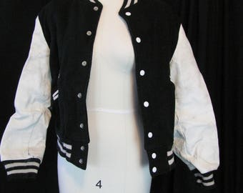 vintage (38) black and white letter jacket (small), COSTUME ONLY, halloween, letterman, varsity, zombie, apocalypse, upcycle, retro, campus