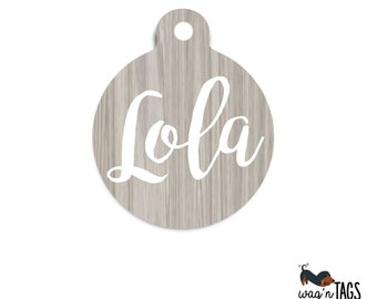 Faux Wood Dog Tag - Aluminum Pet ID Tag - Personalized Wood Name Tag - Identification Tag - Cat Tag - Custom Pet Tag - Rustic Dog Tag