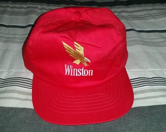 Vintage 80's Winston Cigarettes Red Snapback Cap Hat - One size fits All (Small)