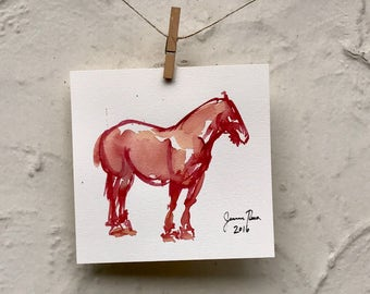 "Horse art original watercolor painting - ""Draft Horse Study in Red"""