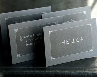 Silent Film inspired cards SET OF 5 multipack