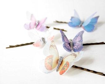 Bridal Organza Butterfly bobby pin, headpiece, Bridesmaid Hairpin - hair bobby pin, a set for five, Ready to Ship