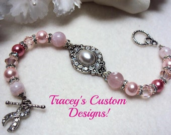 Beautiful BREAST CANCER AWARENESS Bracelet - Custom made designs.