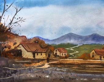 Original Watercolor Painting    Landscape painting    Watercolor painting  Original painting   Original art   Wall decor   Art   Watercolor
