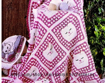 Granny Cat Afghan Throw Crochet Pattern Baby Child Adult Granny Square Afghan Throw Crochet Pattern PDF Instant download - 2277