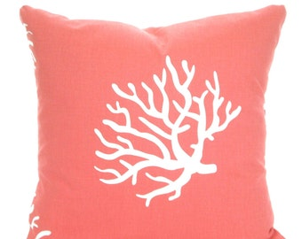 Coral Pillow Covers, Nautical Cushions, Decorative Throw Pillow, Beach Pillow, Coral White Euro Sham Couch Bed Sofa Pillows, VARIOUS SIZES
