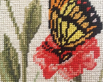 Vintage 1960's Monarch Butterfly Needlepoint