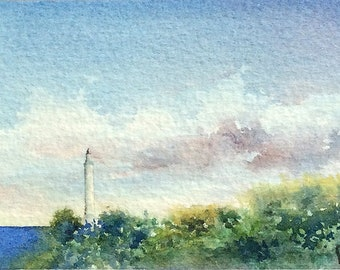 Original watercolor ACEO painting - Lighthouse with fading sun