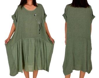 LF100OL Dress Flamingo Application Tunic Linen Vintageoptik One size material mix Gr. 44 46 48 50 Olive