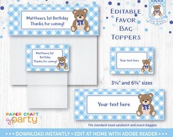 Teddy Bear Picnic Favor Bag Toppers - Printable Treat Bag Topper - Goodie Bag - Blue - Instant Downloading Edit and Adobe Reader TB10