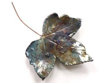 Ceramic leaf wall art ~ ceramic leaf, raku leaves hanging wall decoration, leaf art sculpture, unique ceramic wall hanging, gift for Mum