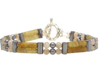 "Labradorite Double Power Bracelet - ""Anxiety Relief"" - Beaded Bracelet, Healing Bracelet"
