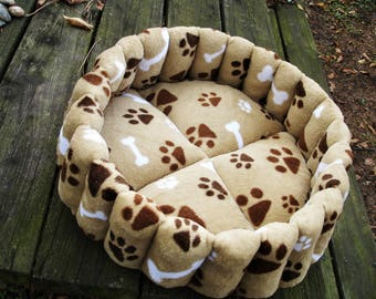 Dog beds, dog beds, pet bed, small dog bed, puppy bed, washable pet bed, round dog bed, brown dog bed, tan pet bed, paw print dog bed