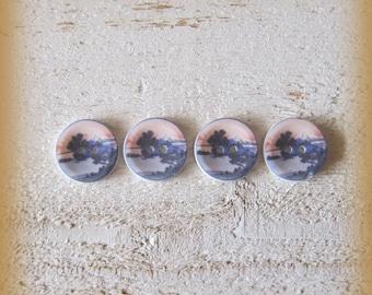 Set of 4 porcelain buttons of 18mm