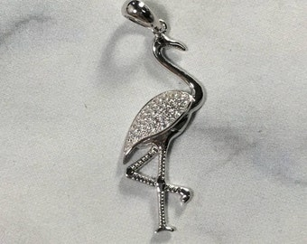 925 Sterling Silver Flamingo Pendant