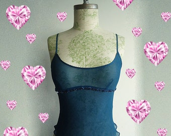 NiCE or NAUGHTY Silk Chiffon Vtg Tank Top Lingerie Bralette Bustier in Sultry Teal for Nice and Naughty Stylish Girls XS/S/M