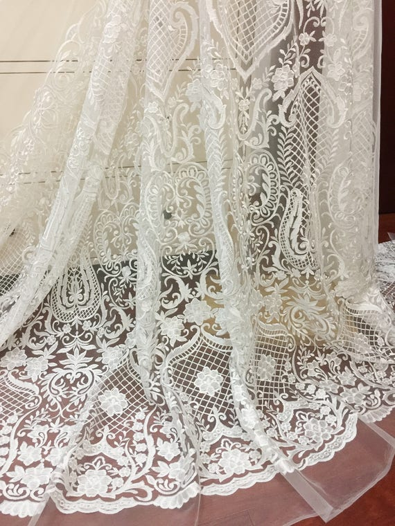 Off white Haute Couture Bridal Gown Lace Fabric by Yard