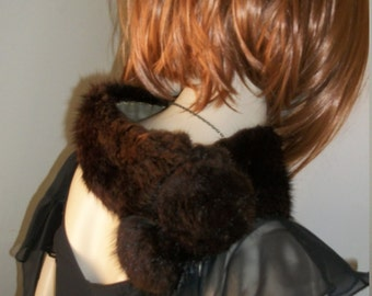 Vintage 1940s 1950s Rich Chocolate Brown Mink Fur Collar One Size Fits Most Gold Organza Lining