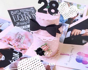 Custom 28 handmade explosion black and pink birthday box card