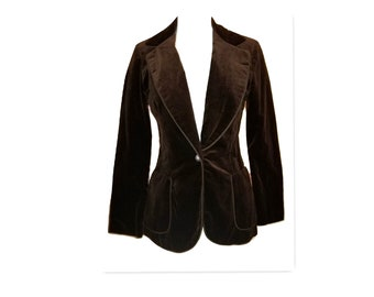 1970s Patty Woodard California Brown Velvet Vintage Blazer
