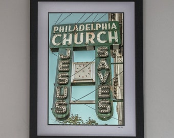 "Philadelphia Church Chicago Vintage Sign Photography- Print ""Jesus Saves"" 8x12 Photo Art, Home Decor"