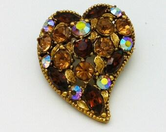 Heart Shaped Brown Rhinestone Brooch Unsigned