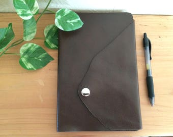 Raw Edge Leather Journal Notebook - Lined Pages Handcrafted Dark Chocolate Brown Wrap Around Snap Closure - guestbook or graduation gift