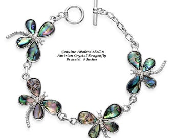 Genuine Abalone Shell & Austrian Crystal Dragonfly Bracelet