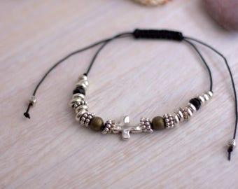 Cross Bracelet, Silver Cross Braided Bracelet, Rope Bracelet, Adjustable Bracelet, Christian Jewelry, Friendship Bracelet, Spiritual Jewelry