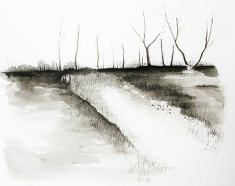 Across the Marshes - an original pen and ink drawing