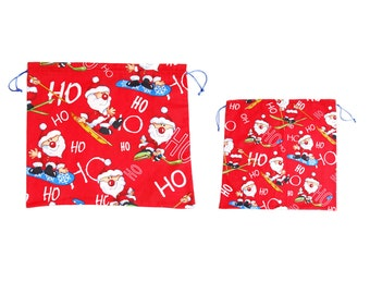 Christmas cotton fabric pouch set, red eco friendly gift wrap with funny Santa Clause pattern for kids, handmade in Vienna