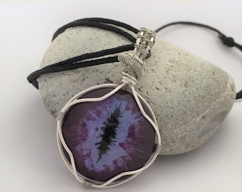 Hand painted dragon eye wire wrapped pendant