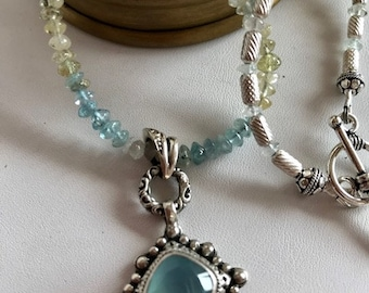 Aquamarine Necklace With Chalcedony Pendant-Gemstone Necklace