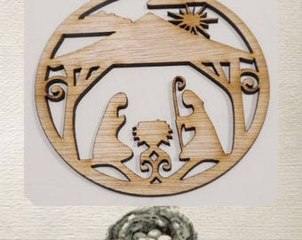 Nativity Ornament / Circular/  Laser Cut Wood