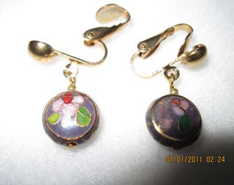 Cloisonne Round Lilac with Flowers Earrings
